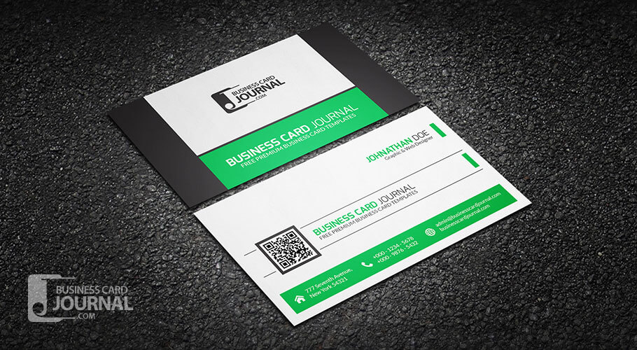 68-refreshing-green-qr-code-business-card-template