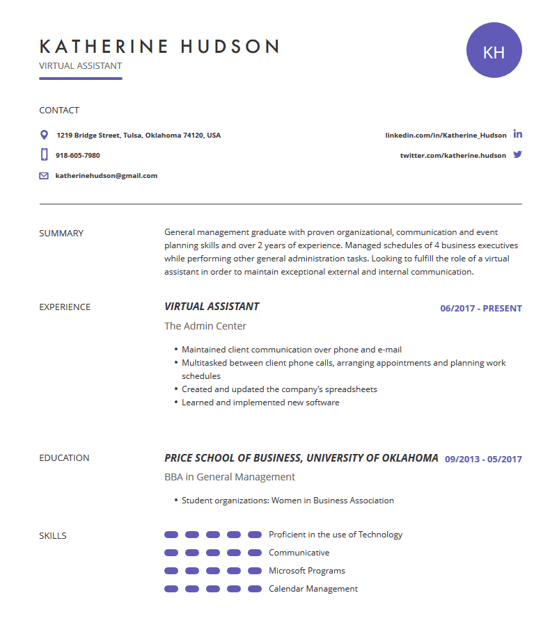 virtual assistant resume  examples  template  and resume tips