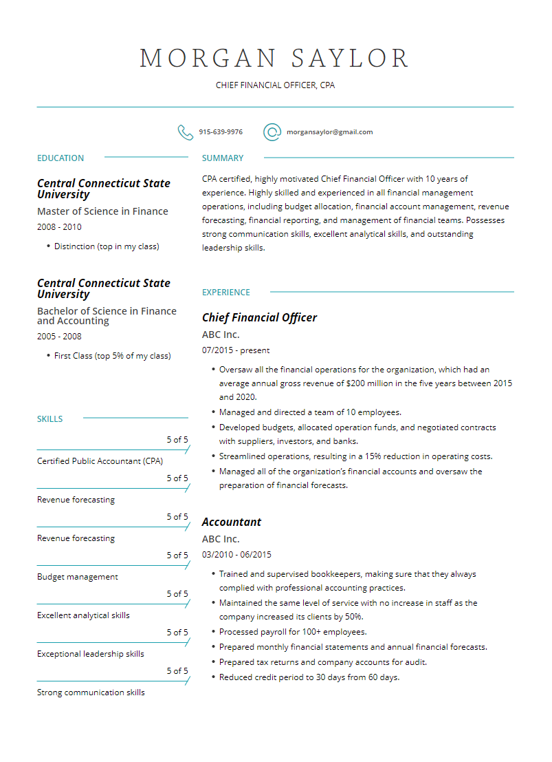 chief financial officer resume examples template and